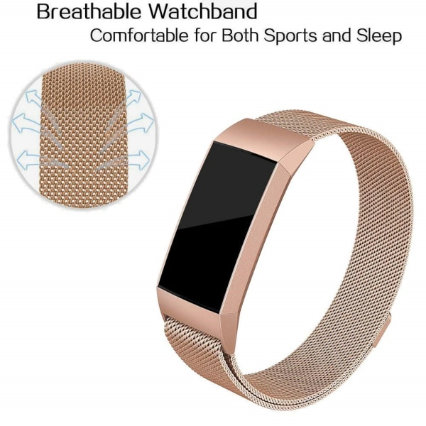 Milanese Loop Armband Fitbit Charge 3/4 Rose Guld