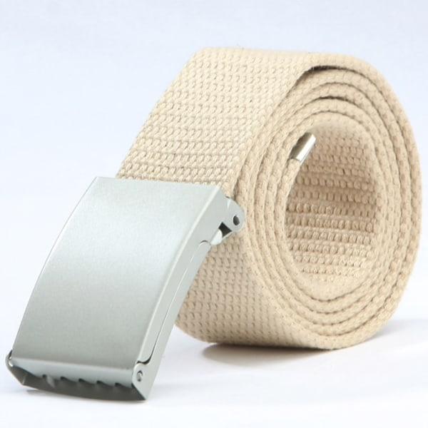 25 bälte i canvas tyg svart eller silver spänne justerbar längd Beigt tyg