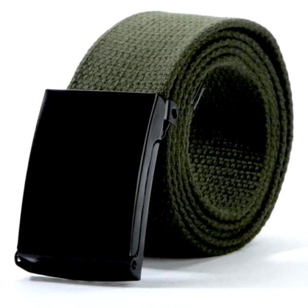 25 bälte i canvas tyg svart eller silver spänne justerbar längd Mossgrönt