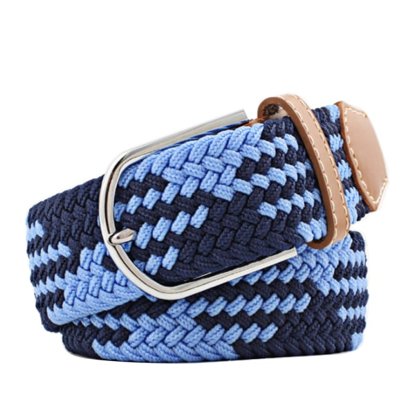 Bälte canvas 23 mönster storlek W26-W36 stretch justerbar längd: 15 Mörkblå / ljusblå