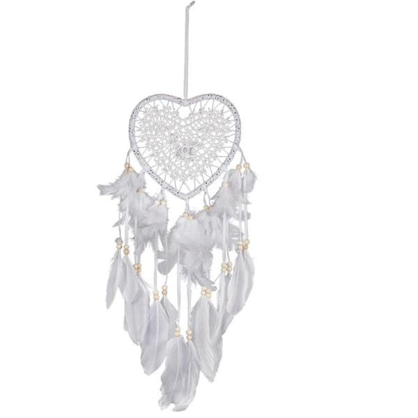Drömfångare vitt hjärta med fjädrar, sovrum sova dekoration vit