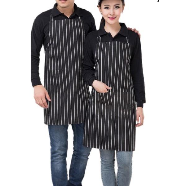 Förkläde kock matlagning skydd kök grilla, randig, svart/vit svart/ vit