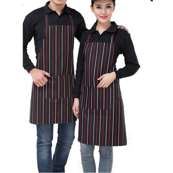 Förkläde kock matlagning unisex skydd kök grill grilla, röd rand svart/ vit / röd