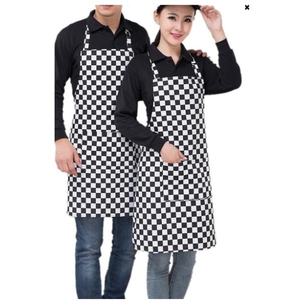 Förkläde kock matlagning unisex skydd kök grill grilla, rutig svart och vit rutig
