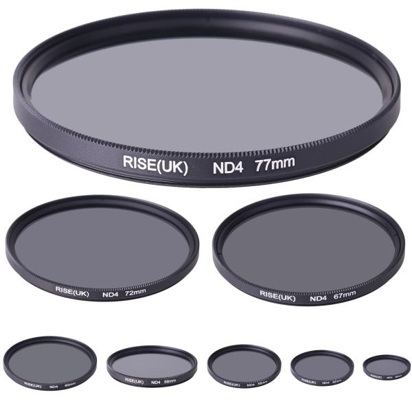 Gråfilter ND4 (4X) 49 - 77 mm. Välj storlek i listan! svart 62mm