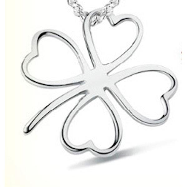 Halsband med berlock, fyrklöver silverfärgad smycke silver