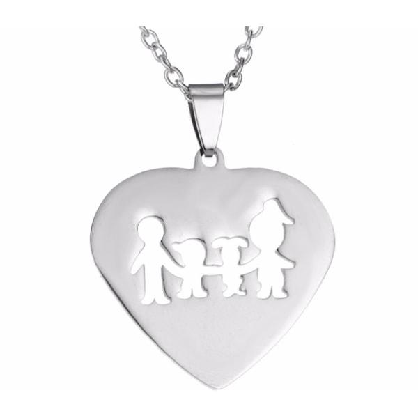 Halsband med berlock hjärta med familj smycke son dotter silver