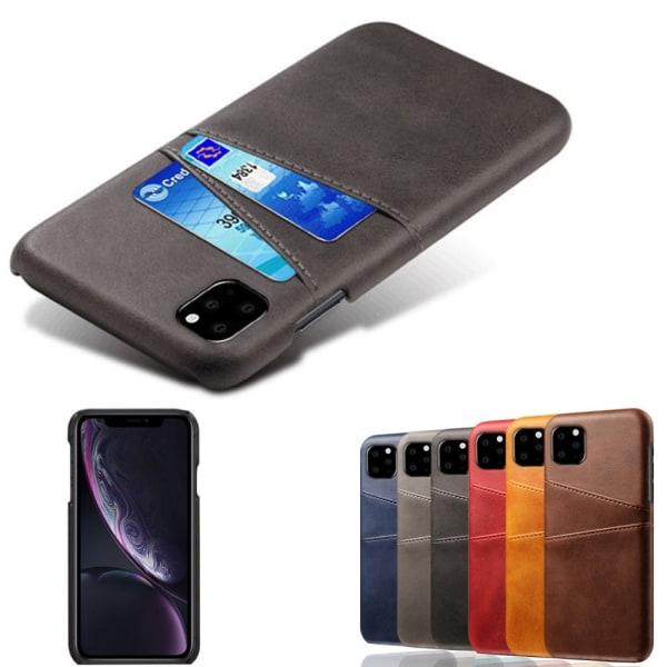 Iphone 12/12Pro skydd skal fodral skinn läder kort visa amex - Svart iPhone 12 / 12 Pro