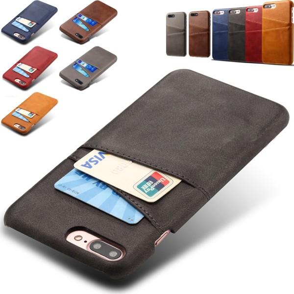 Iphone 7 Plus 8 Plus + skydd skal fodral kort visa mastercard - Blå iPhone 7+8+