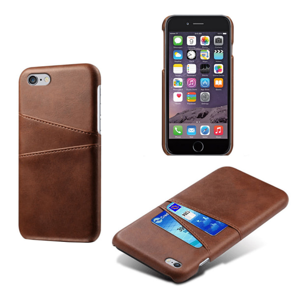 Iphone 7 Plus 8 Plus + skydd skal fodral kort visa mastercard - Mörkbrun iPhone 7+/8+