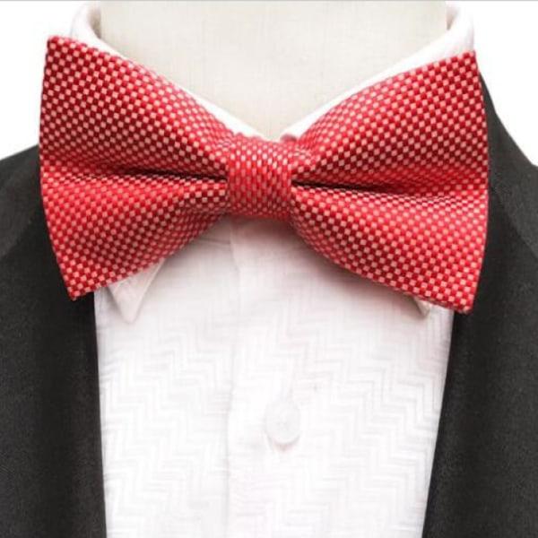 Mönstrad fluga, passar till både kostym o kavaj Röd , vit
