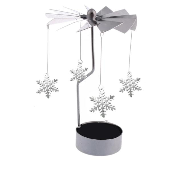 Roterande ljuslykta med snöflingor Silver