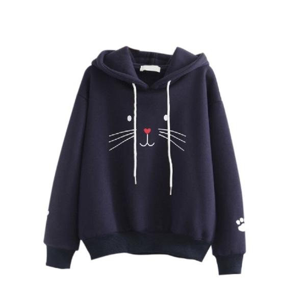 Women Plus Velvet Warm Cute Cat Print Pullover Hoodie Tops L B L