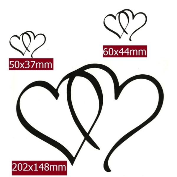 3st Hjärtan i olika storlekar svart