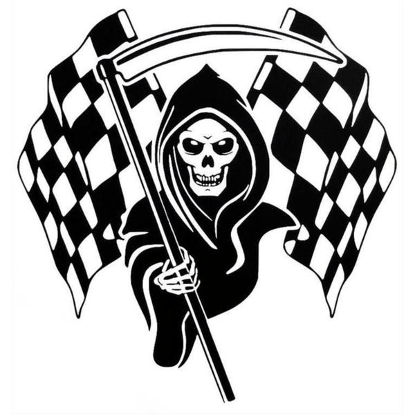 Bil dekor - Dödskalle racing flagga