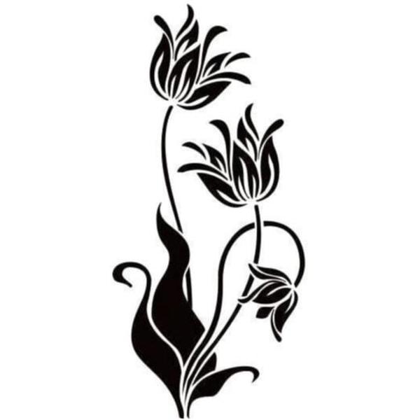 Väggdekor - Blommor Design svart