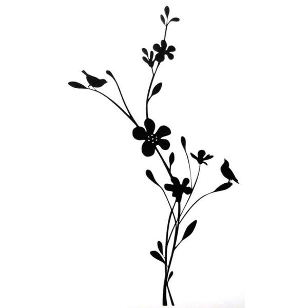 Väggdekor - Fågel på blommor STOR svart