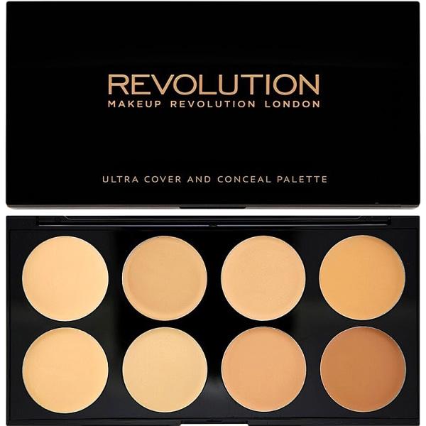 Makeup Revolution Ultra Cover and Conceal Palette Light - Medium Svart
