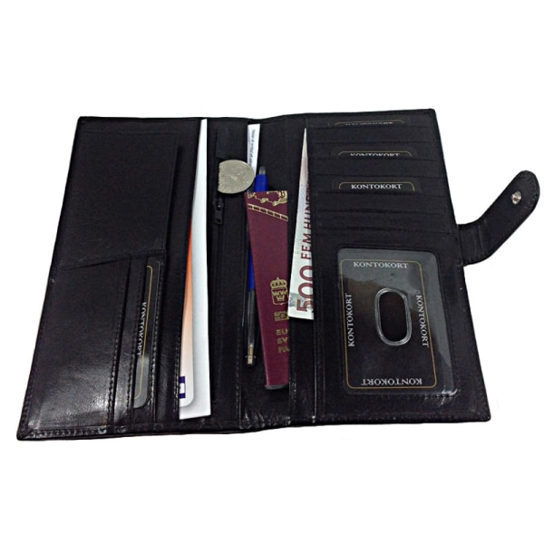 Barrington reseplånbok i äkta skinn, för pass, biljetter etc.