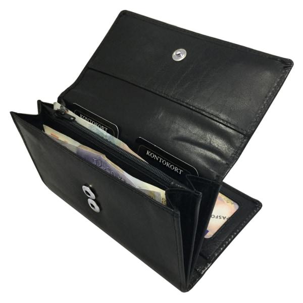 Barrington svart stor plånbok i äkta skinn, 19 fack