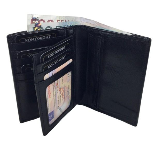 RFID Barrington  svart herrplånbok i äkta kalvskinn, 22 fack