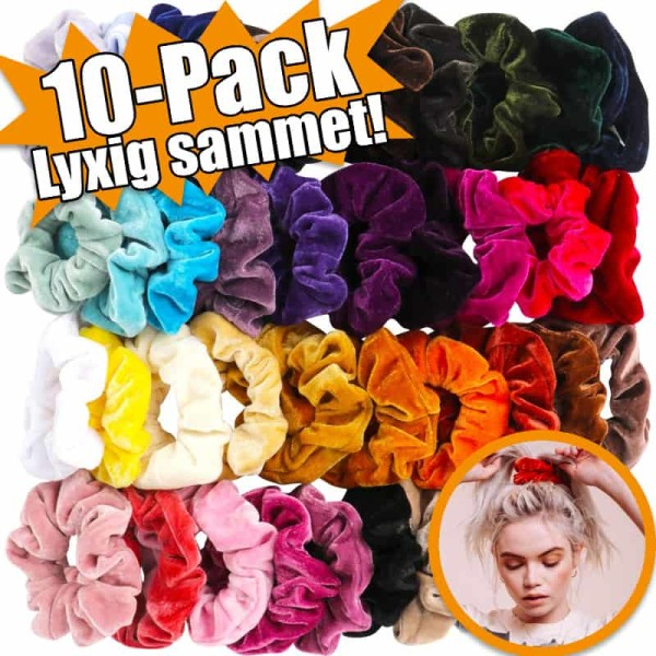 Scrunchies Hårband | Sammet | Hårsnoddar | 10-pack