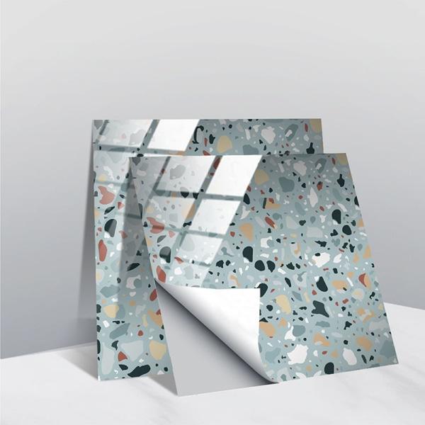 10st Moderna Glans Kakel Väggdekaler Dekor Kristallfilmer Blå 10x10cm