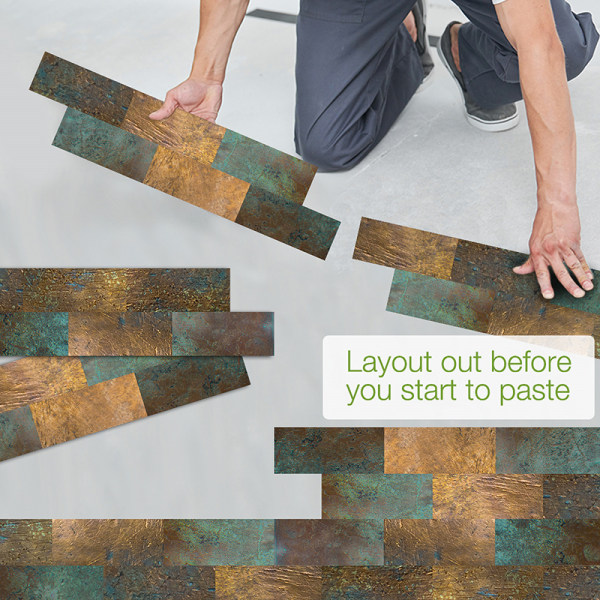 14st kakel klistermärken mosaik självhäftan väggdekor vattentät Kopparmetall 55x13.5cm