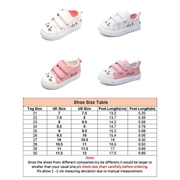 Barn katt tryck tecknade låga topp sneakers kardborre sneakers rosa 30