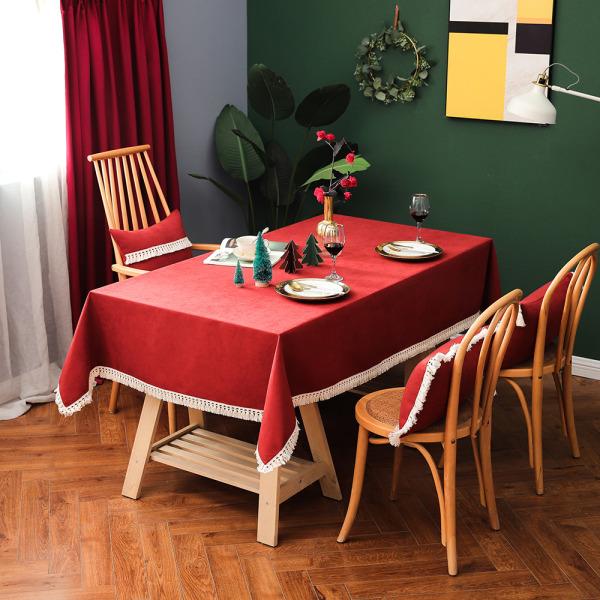 Bordsduk Morandi Färg Bomullslinne Matbord Tygöverdrag Röd 140x220cm