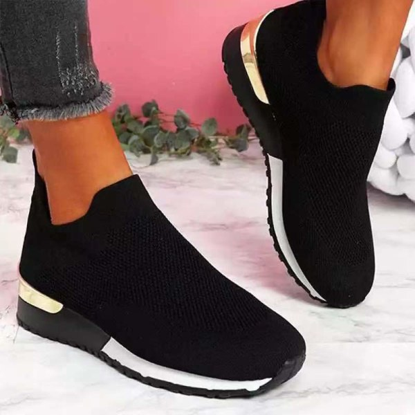 Dam casual sportskor bekväma och hälsosamma enkla skor enfärgade Svart 35