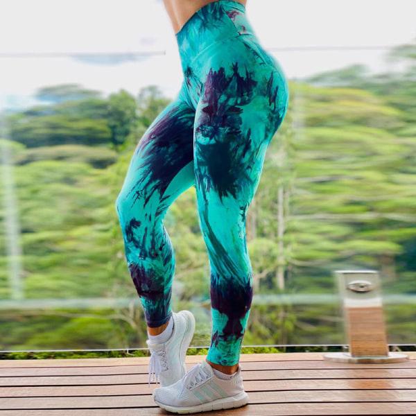 Dam Yoga Leggings Sportbyxor Hip Push Up Strech Fitness Grön M