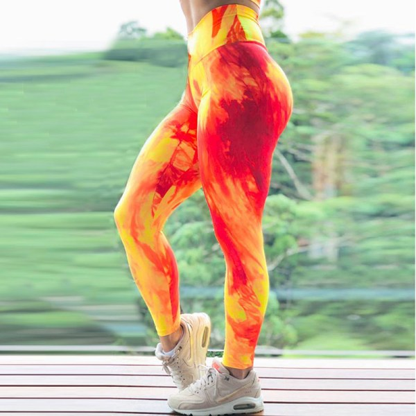 Dam Yoga Leggings Sportbyxor Hip Push Up Strech Fitness Orange XL