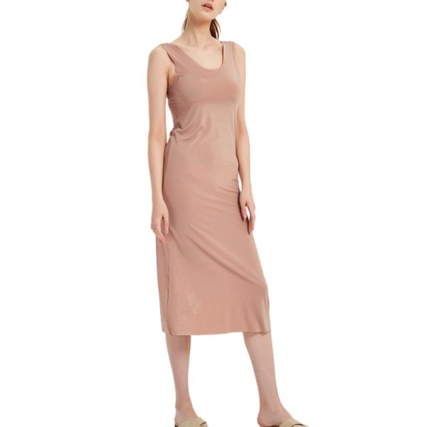 Damnattklänning Sling Ice Silk Elastisk ärmlös Sömnklänning Kaki Lång Klänning 5XL