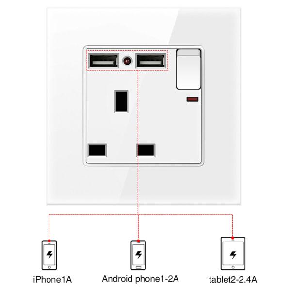 Eluttag Vägg Ljusbrytare & Uttag USB Hem 20A-omkopplare