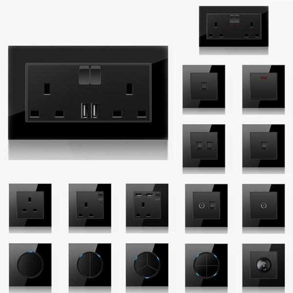Eluttag Vägg Svart Ljus USB Härdat Glas 20A-omkopplare