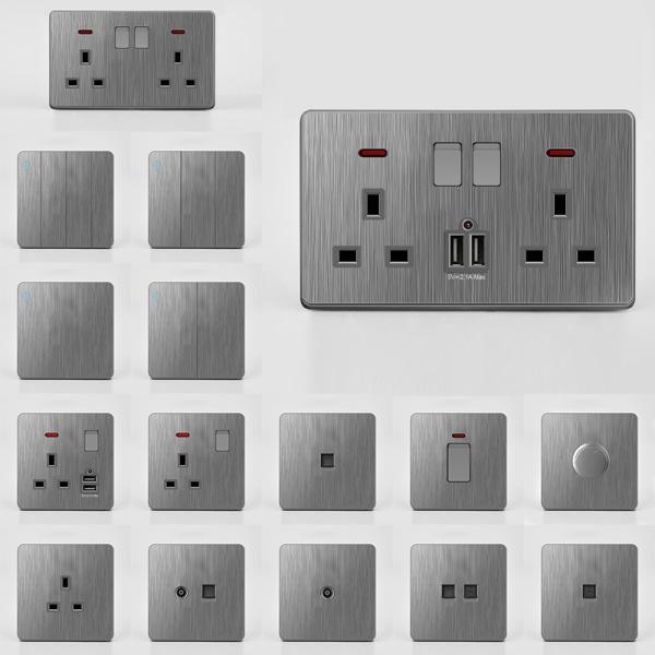 Eluttag Väggbrytare och uttag Grå USB-insatser 2x13A uttag