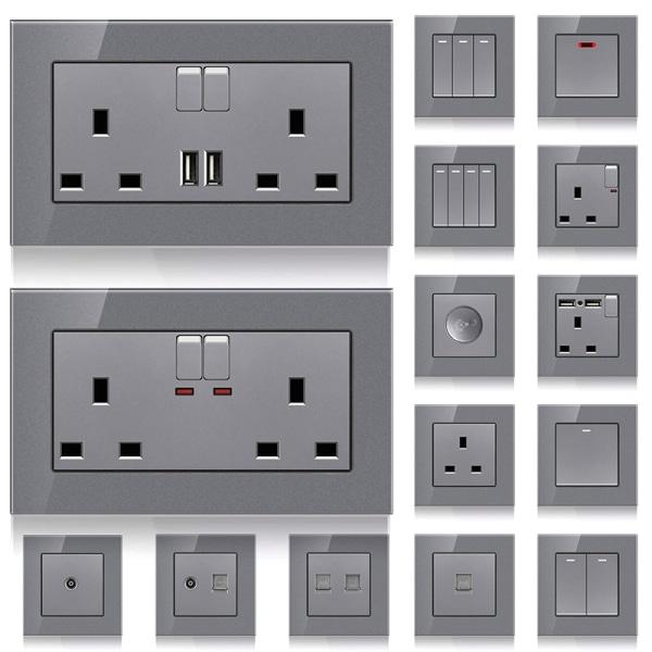 Eluttag Vägglampa Strömbrytare USB-insatser 13A uttag + 2USB