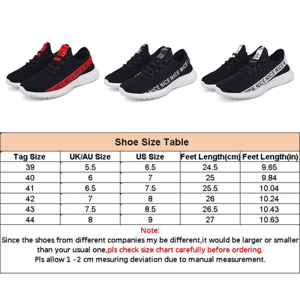 Herr jogging lätta casual löparskor mode tennis andas sneakers svart 40
