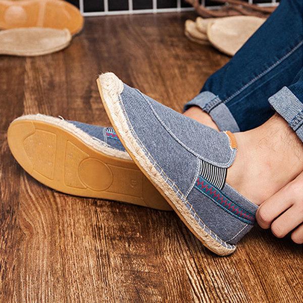 Herr Lätta kanvasskor Mode Andningsbara Mockasiner Fritidsskor Blå 43