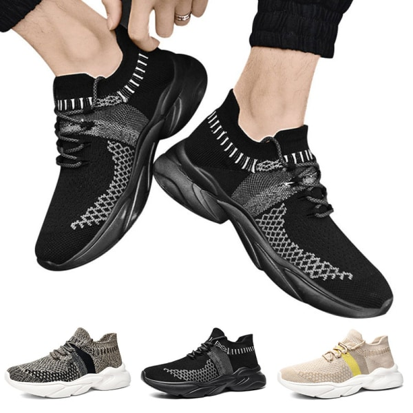 Herr Lätta Löparskor Casual Andningsbar Tennis Fitness Sneakers Beige 38