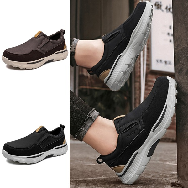 Herrmode i enfärgade loafers slitstarka halkfria sneakers Brun 40