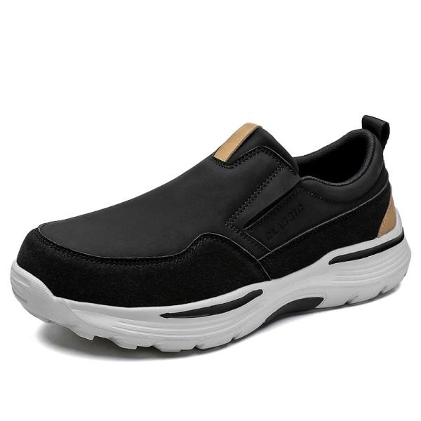 Herrmode i enfärgade loafers slitstarka halkfria sneakers Svart 44