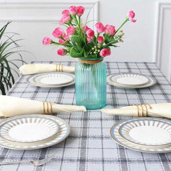 Kontrollera bordsduk tofs polyester rektangulär heminredning grå 110x170cm