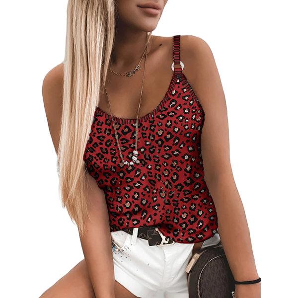 Kvinnor kortärmad tryckt väst sommar elastisk camisole topp Rödvin 5XL