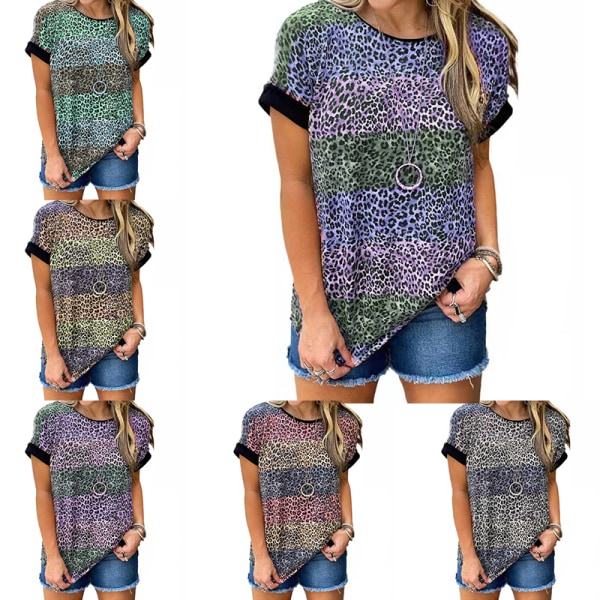 Kvinnor sommartryckt kort ärm lös tröja topp grå 5XL