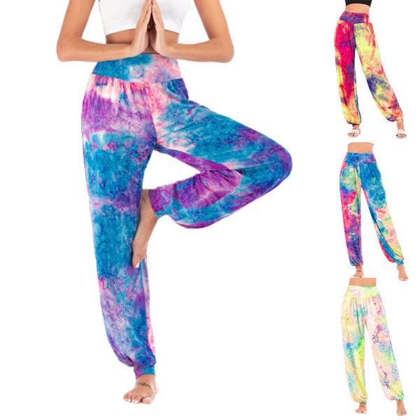 Kvinnor Tie Dye Yoga Harem Pants Palazzo Leg Byxor Plus Size Rosröd XL
