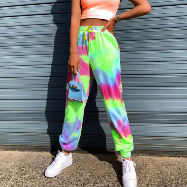 Kvinnor Tie Dye Yoga Sport stretch elastiska midja byxor Grön S