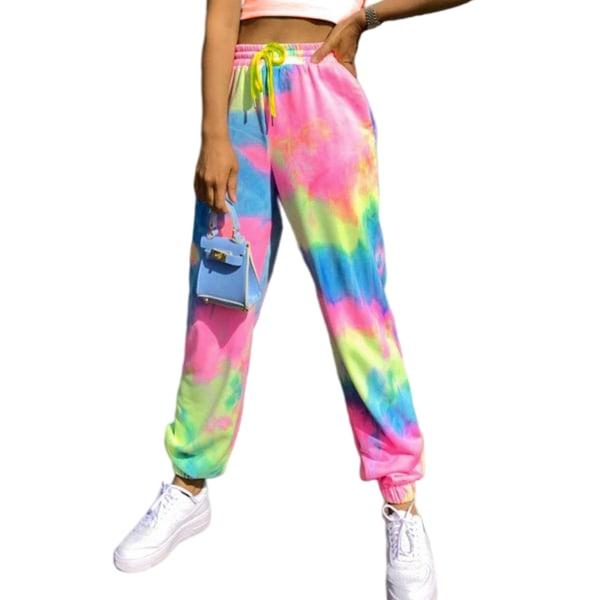 Kvinnor Tie Dye Yoga Sport stretch elastiska midja byxor Rosa 2XL