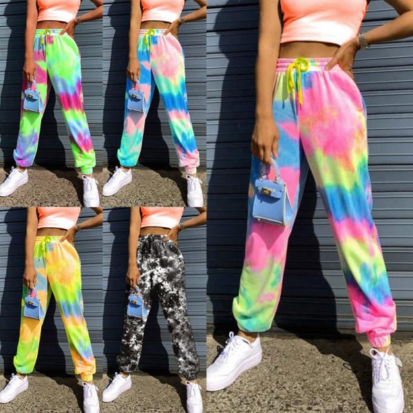 Kvinnor Tie Dye Yoga Sport stretch elastiska midja byxor Svart XL